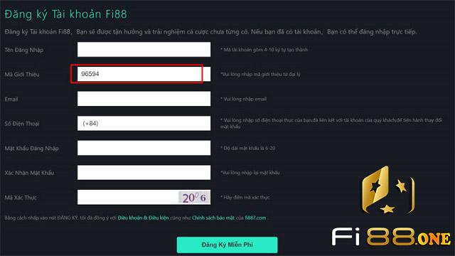 Đăng ký tài khoản tại Fi88
